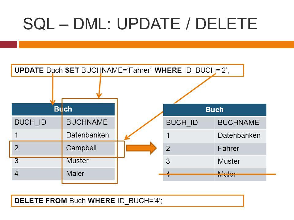 SQL – DML: UPDATE / DELETE