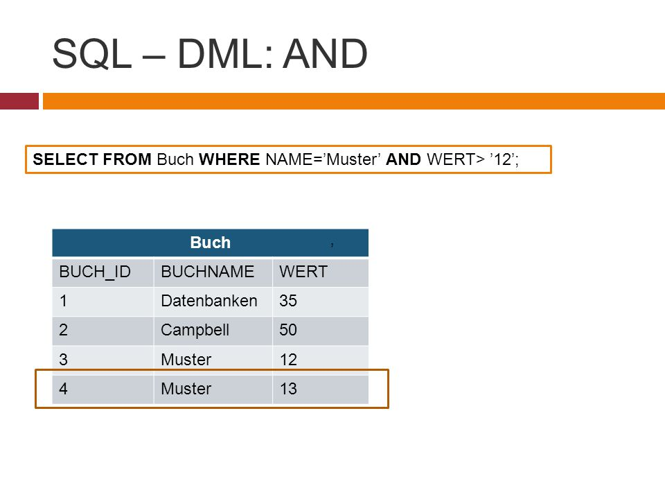 SQL – DML: AND SELECT FROM Buch WHERE NAME='Muster' AND WERT> '12';