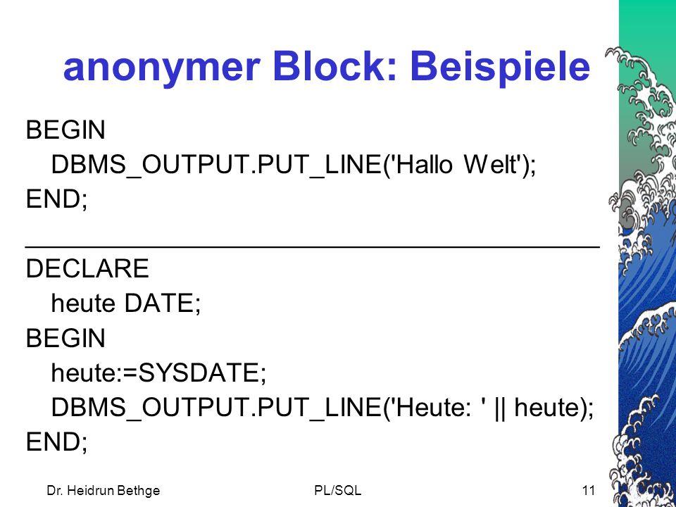 anonymer Block: Beispiele