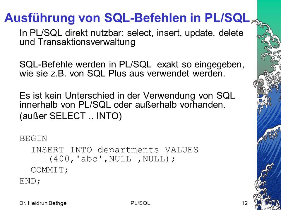 Ausführung von SQL-Befehlen in PL/SQL