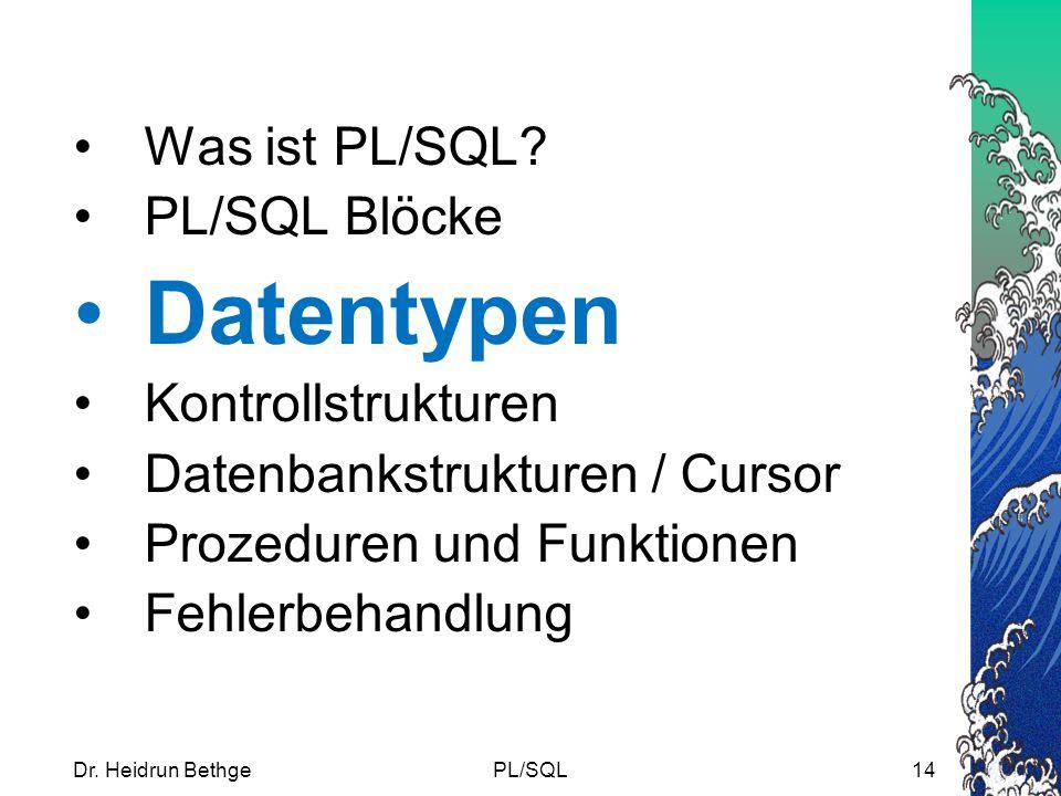 Datentypen Was ist PL/SQL PL/SQL Blöcke Kontrollstrukturen