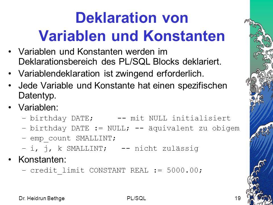 Deklaration von Variablen und Konstanten