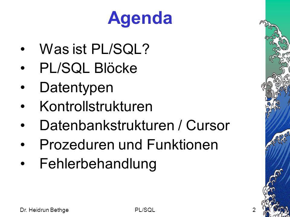 Agenda Was ist PL/SQL PL/SQL Blöcke Datentypen Kontrollstrukturen