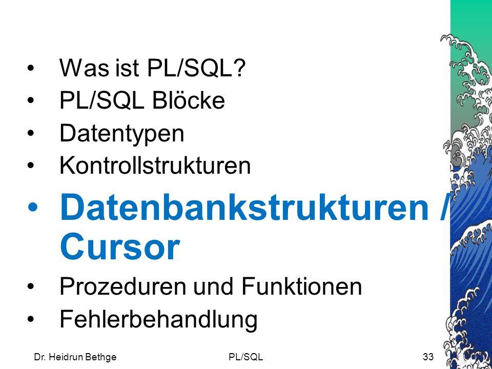 Datenbankstrukturen / Cursor