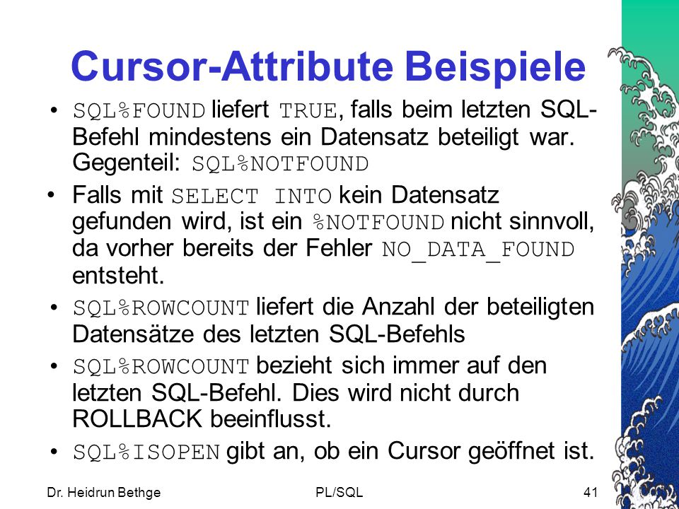 Cursor-Attribute Beispiele