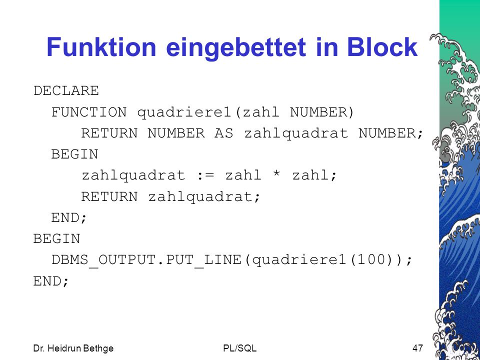Funktion eingebettet in Block