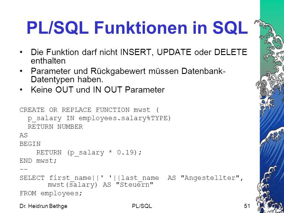 PL/SQL Funktionen in SQL