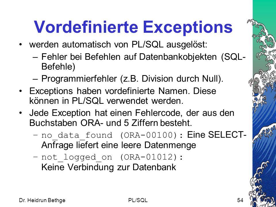 Vordefinierte Exceptions