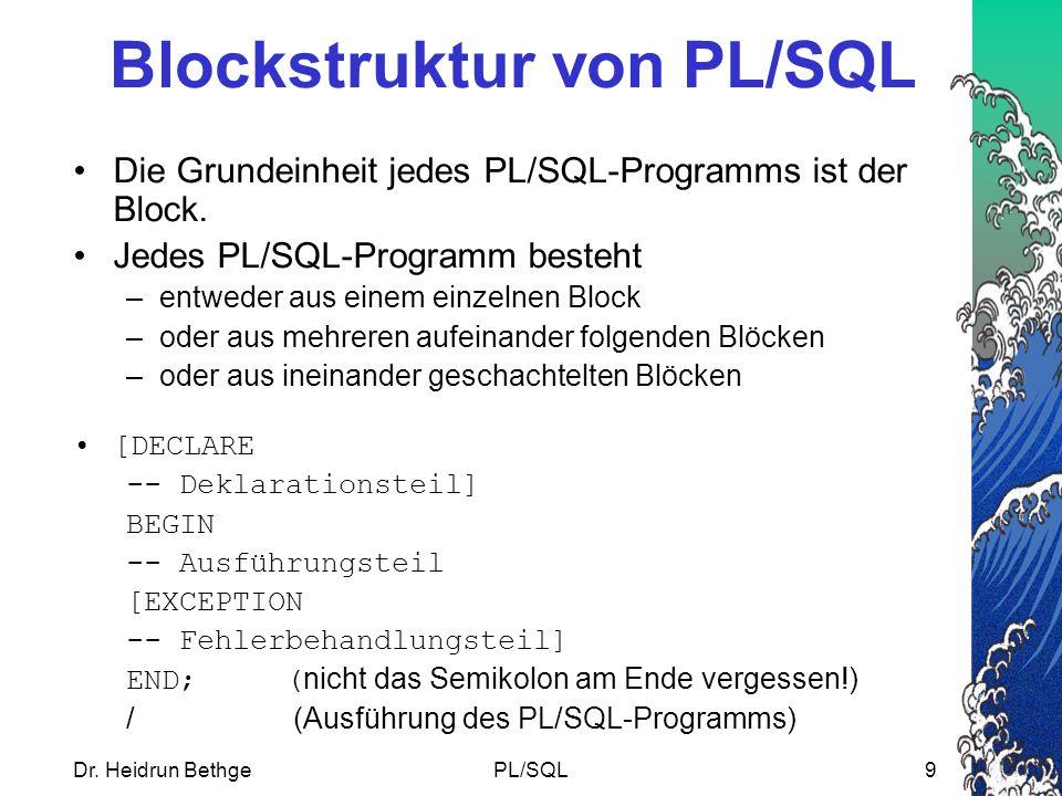Blockstruktur von PL/SQL