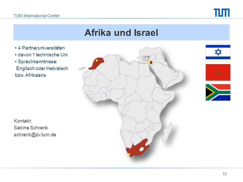 Afrika und Israel 4 Partneruniversitäten davon 1 technische Uni