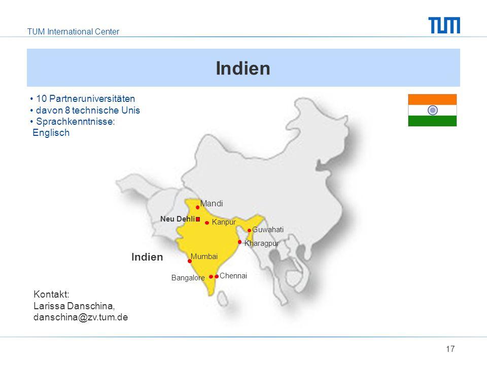 Indien Indien 10 Partneruniversitäten davon 8 technische Unis