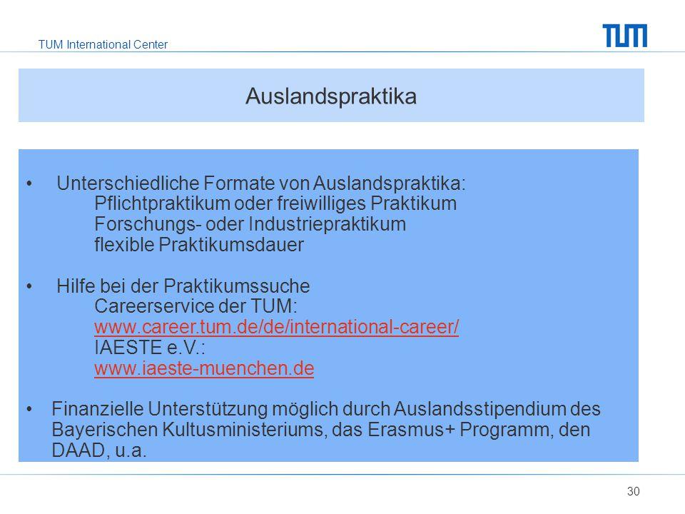 Auslandspraktika Unterschiedliche Formate von Auslandspraktika:
