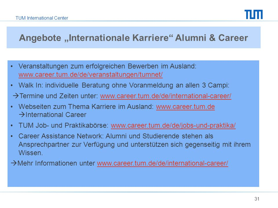 "Angebote ""Internationale Karriere Alumni & Career"