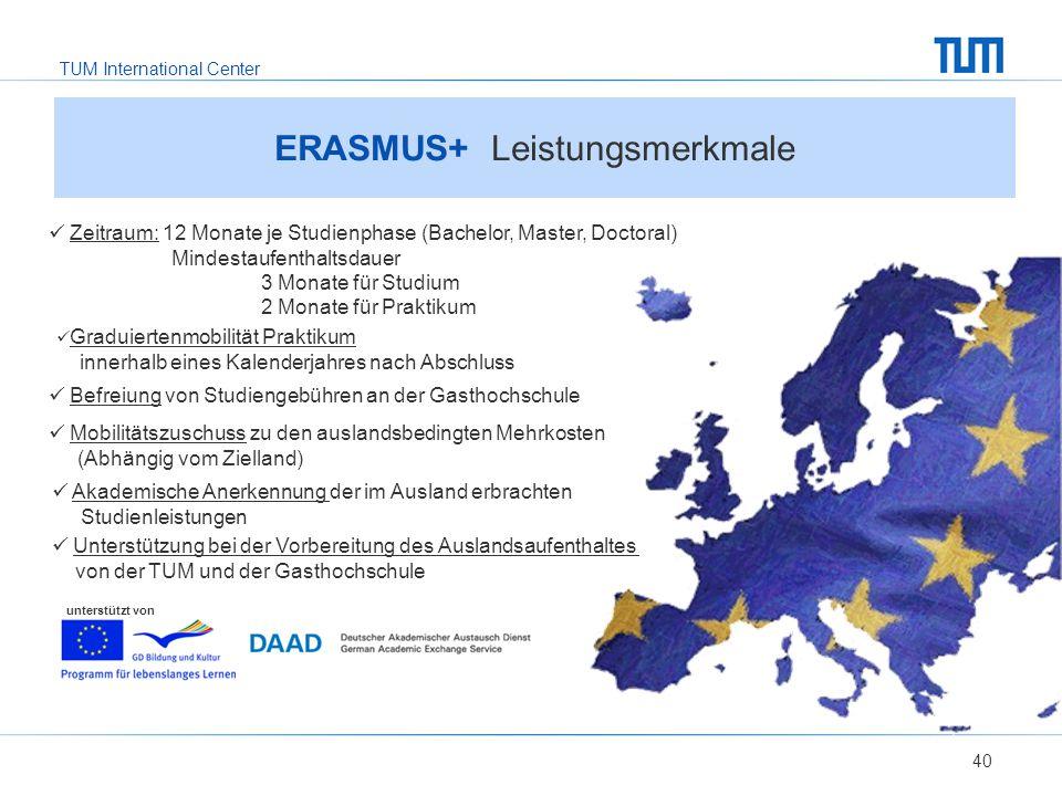 ERASMUS+ Leistungsmerkmale