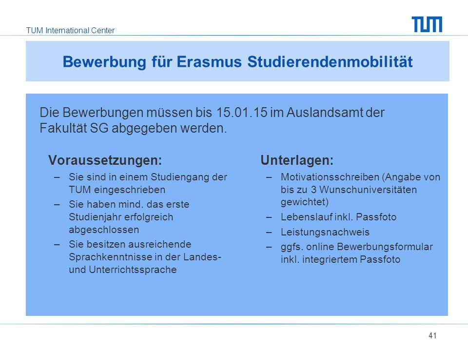 Bewerbung für Erasmus Studierendenmobilität