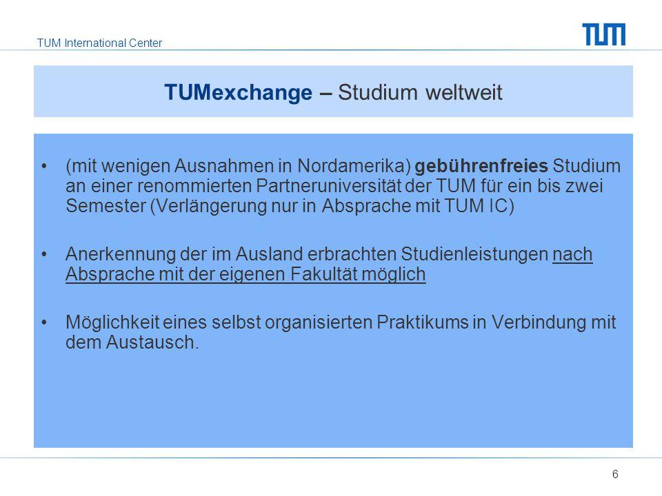 TUMexchange – Studium weltweit