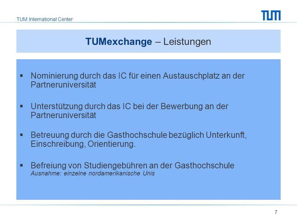 TUMexchange – Leistungen