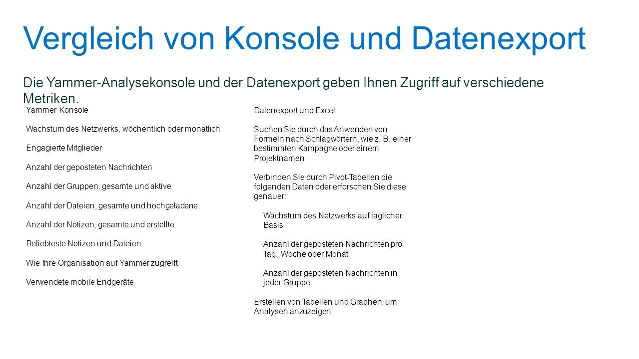 Vergleich von Konsole und Datenexport
