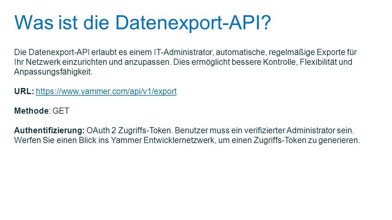 Was ist die Datenexport-API
