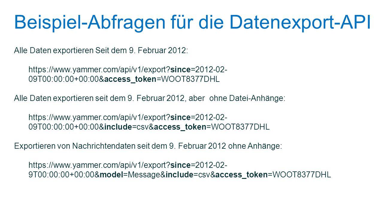 Beispiel-Abfragen für die Datenexport-API