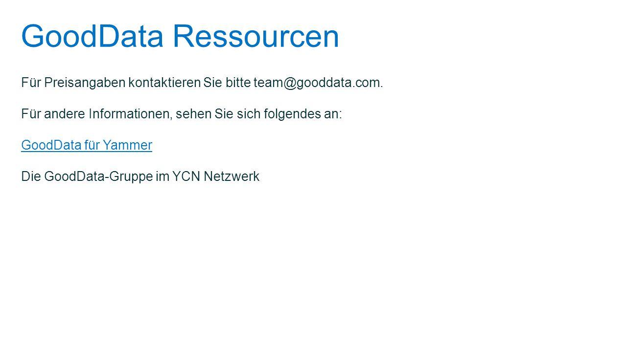 GoodData Ressourcen Für Preisangaben kontaktieren Sie bitte team@gooddata.com. Für andere Informationen, sehen Sie sich folgendes an: