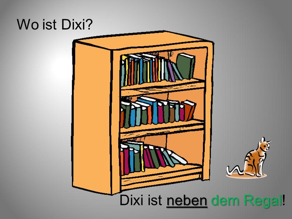 Wo ist Dixi Dixi ist neben dem Regal!