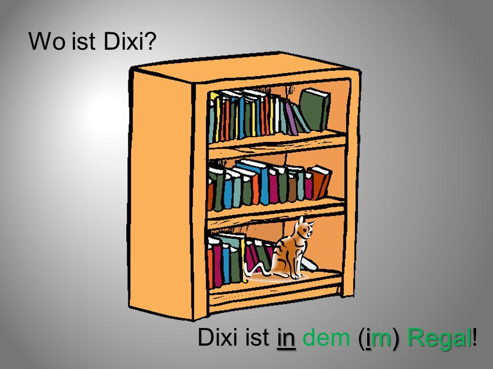 Wo ist Dixi Dixi ist in dem (im) Regal!