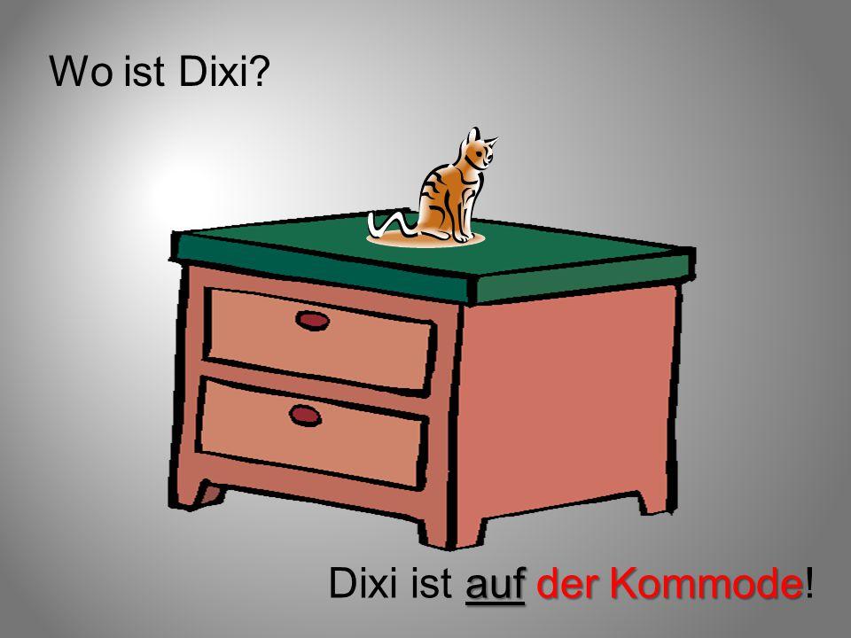 Wo ist Dixi Dixi ist auf der Kommode!