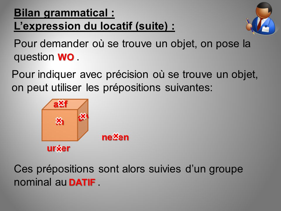L'expression du locatif (suite) :