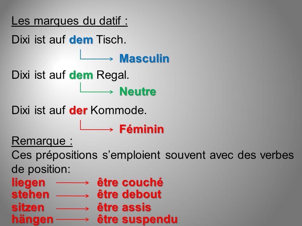Les marques du datif : Dixi ist auf dem Tisch. Masculin. Dixi ist auf dem Regal. Neutre. Dixi ist auf der Kommode.