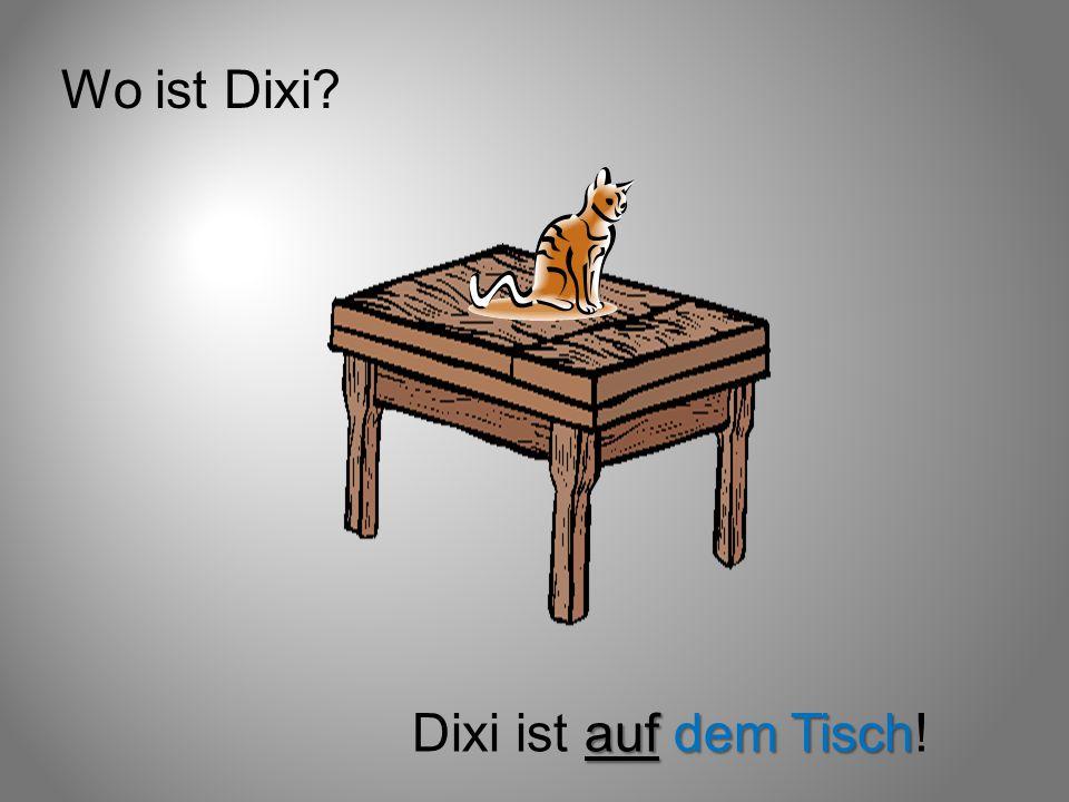 Wo ist Dixi Dixi ist auf dem Tisch!