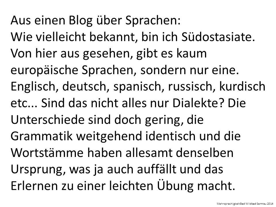Aus einen Blog über Sprachen:
