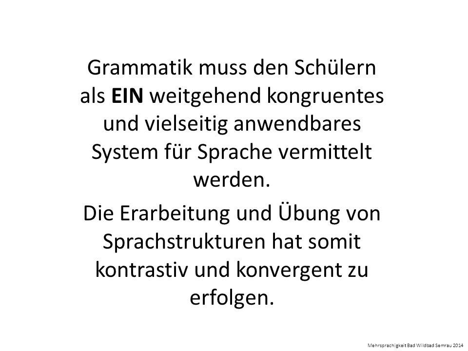 Grammatik muss den Schülern als EIN weitgehend kongruentes und vielseitig anwendbares System für Sprache vermittelt werden.