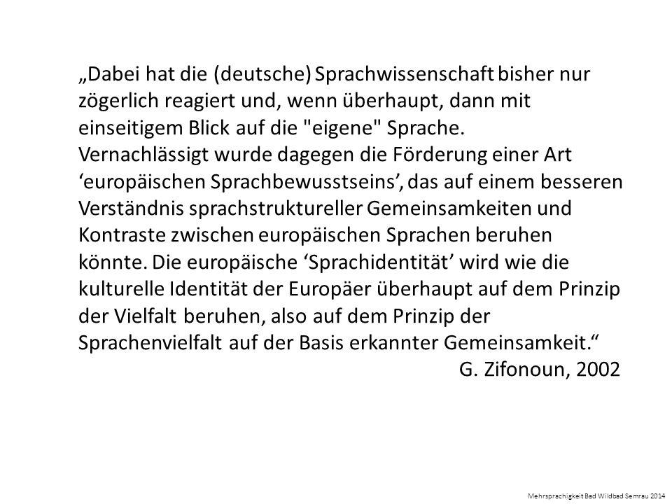 """""""Dabei hat die (deutsche) Sprachwissenschaft bisher nur zögerlich reagiert und, wenn überhaupt, dann mit einseitigem Blick auf die eigene Sprache."""