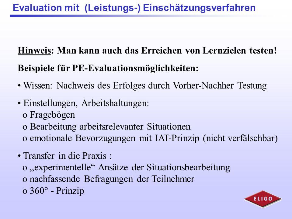 Evaluation mit (Leistungs-) Einschätzungsverfahren