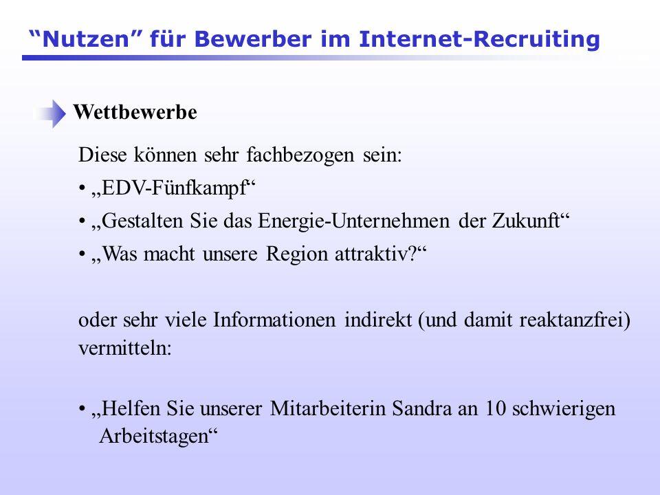 Nutzen für Bewerber im Internet-Recruiting
