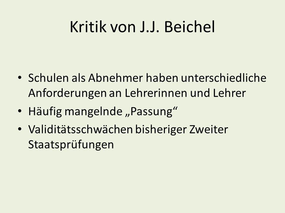 Kritik von J.J. Beichel Schulen als Abnehmer haben unterschiedliche Anforderungen an Lehrerinnen und Lehrer.