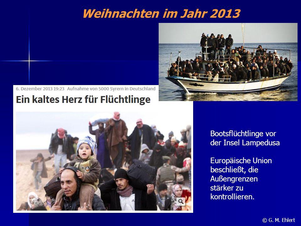 Weihnachten im Jahr 2013 Bootsflüchtlinge vor der Insel Lampedusa