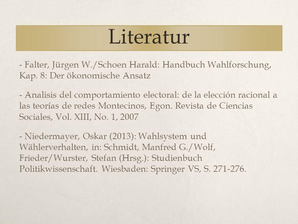 Literatur - Falter, Jürgen W./Schoen Harald: Handbuch Wahlforschung, Kap. 8: Der ökonomische Ansatz.