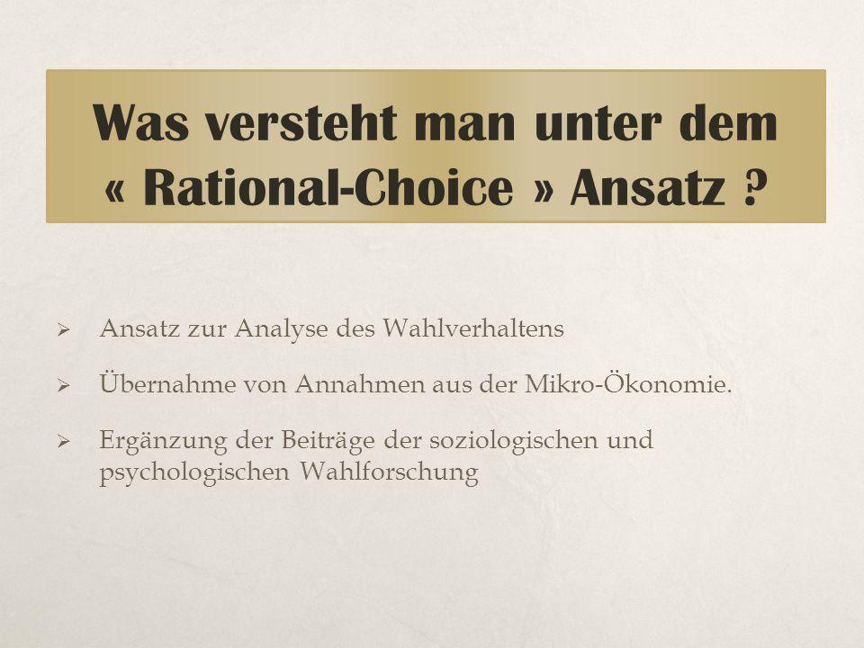 Was versteht man unter dem « Rational-Choice » Ansatz