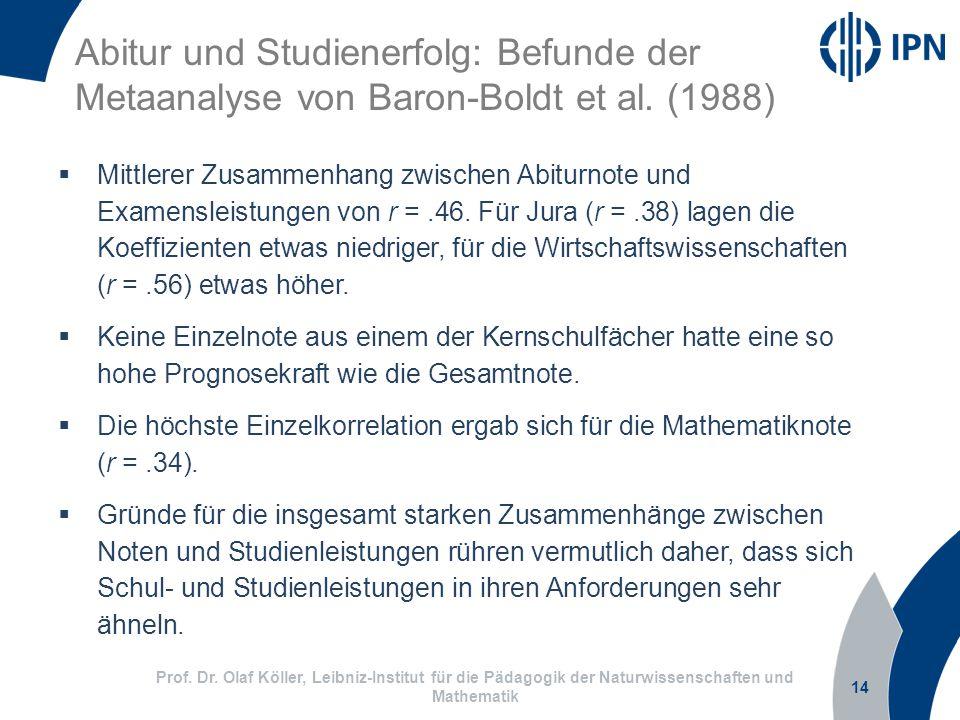 Abitur und Studienerfolg: Befunde der
