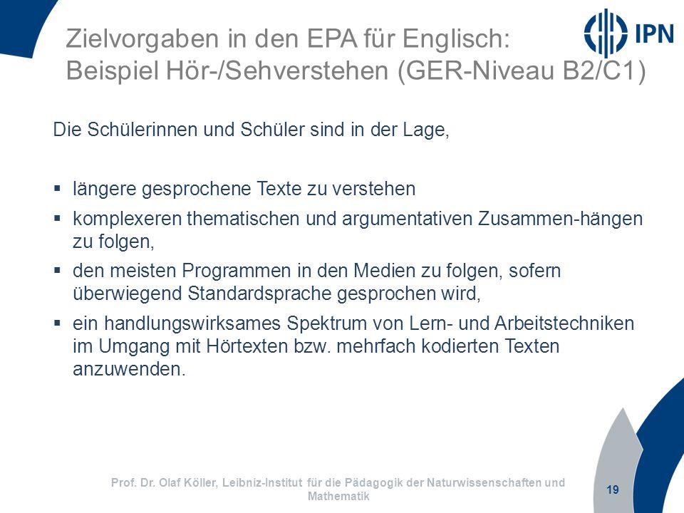 Zielvorgaben in den EPA für Englisch: Beispiel Hör-/Sehverstehen (GER-Niveau B2/C1)