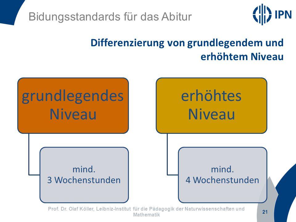 Differenzierung von grundlegendem und erhöhtem Niveau