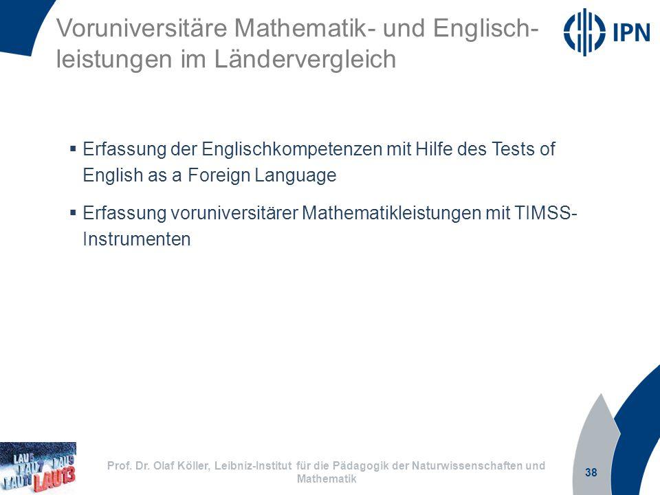 Voruniversitäre Mathematik- und Englisch-leistungen im Ländervergleich
