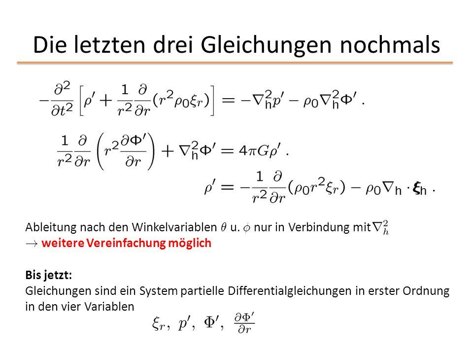 Die letzten drei Gleichungen nochmals