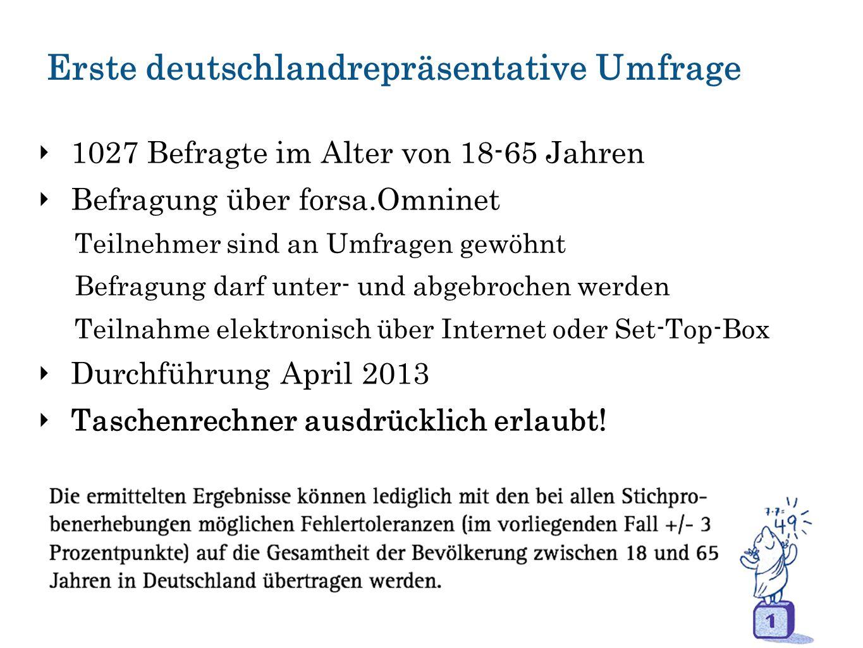 Erste deutschlandrepräsentative Umfrage