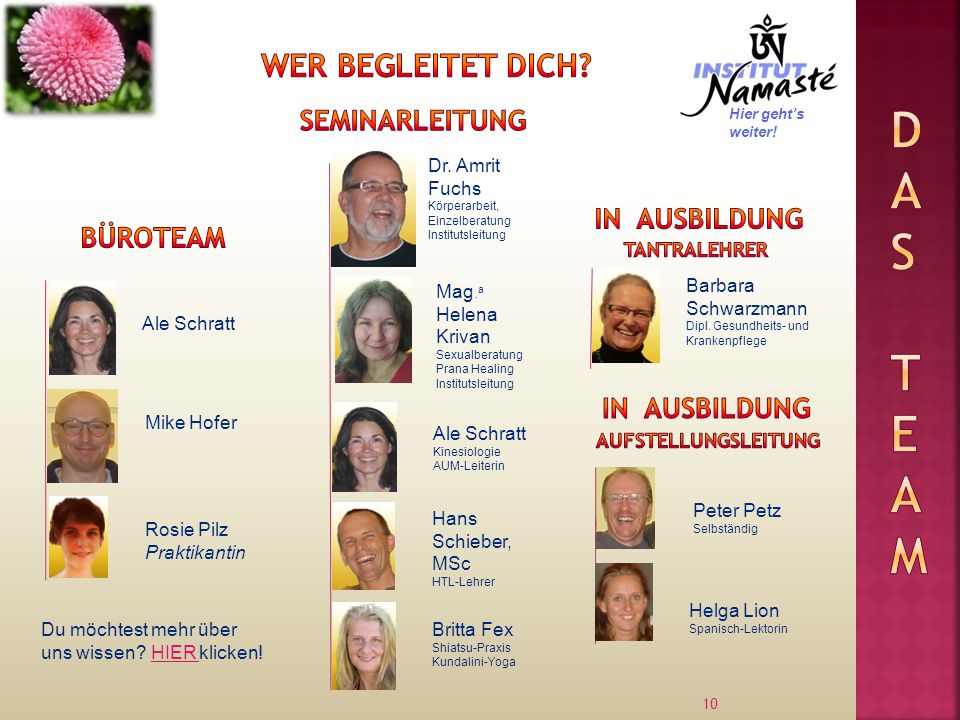 Das Team Wer begleitet dich Seminarleitung In Ausbildung Büroteam