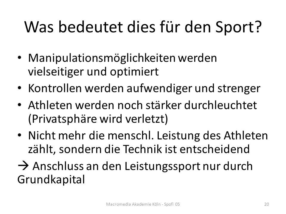 Was bedeutet dies für den Sport