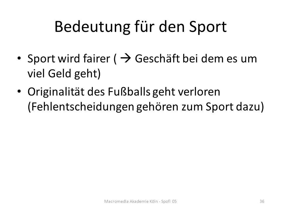 Bedeutung für den Sport