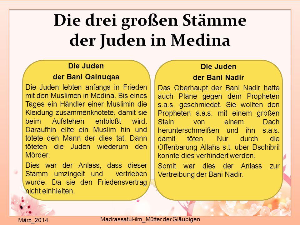 Die drei großen Stämme der Juden in Medina